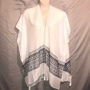 Chaps embroidered open cardigan poncho shawl